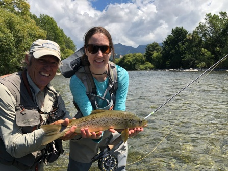 Katherine with a beautiful New Zeland brown, caught on the dry fly of course.
